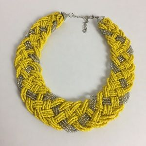 Jewelry - Beaded Braid Collar Necklace Yellow And Silver